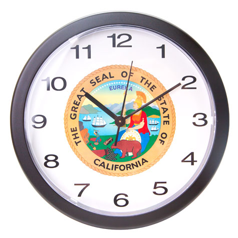 "10"" Black Wall Clock w/State Seal"