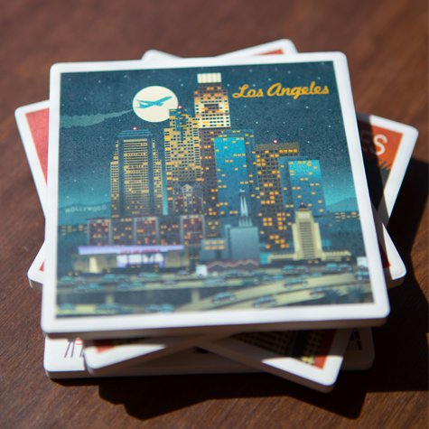 Los Angeles Retro Skyline Coaster Set