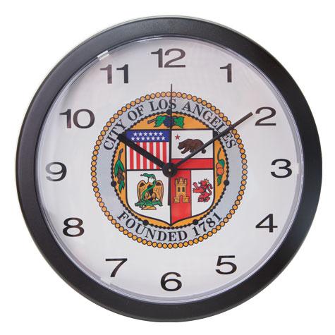 "10"" Black Wall Clock w/City Seal"