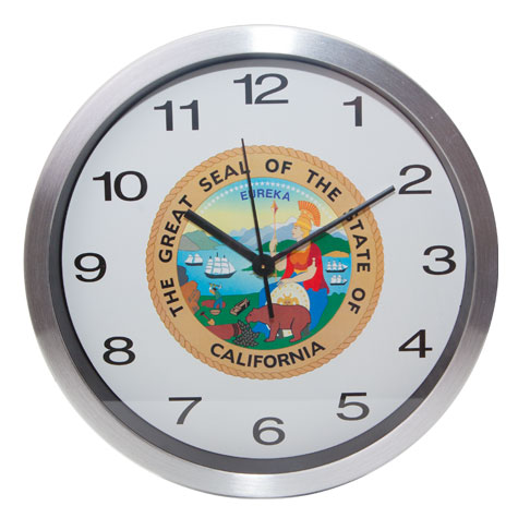 "10"" Chrome Wall Clock w/State Seal"