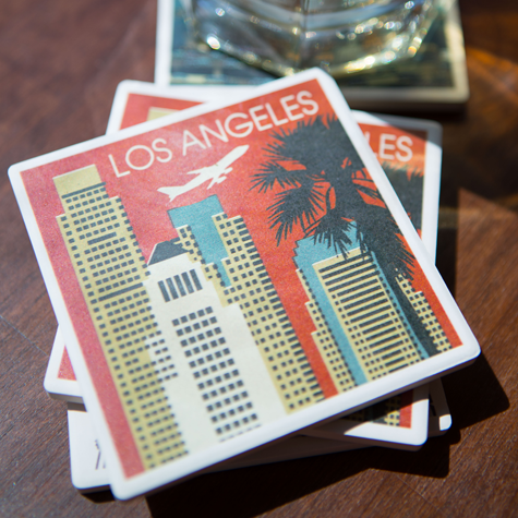 Los Angeles Woodblock Skyline Coaster Set