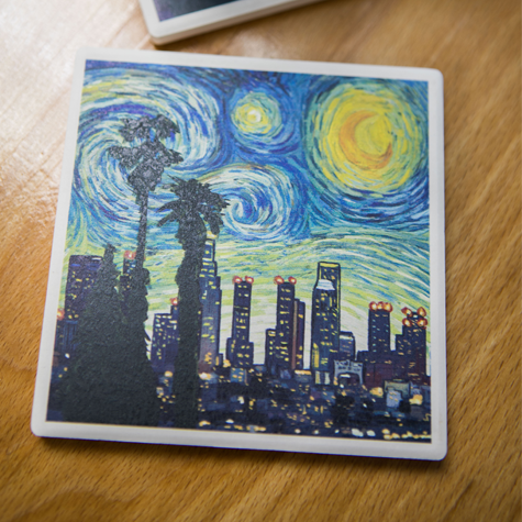 Los Angeles Van Gogh Skyline Coaster Set