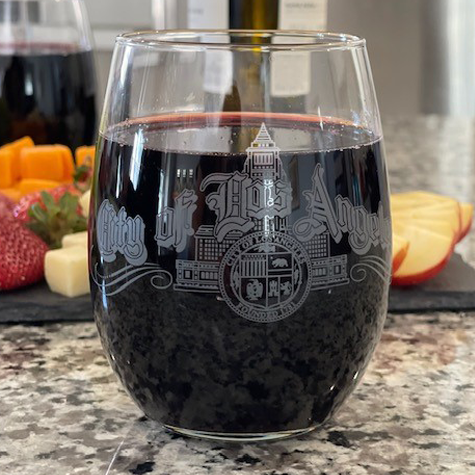 15 oz Stemless Wine Glass with LA City Script