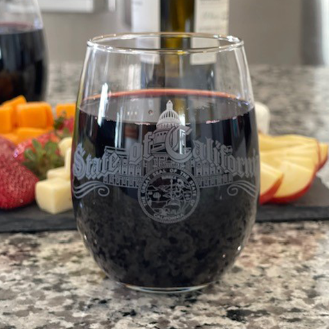 15 oz Stemless Wine Glass with CA State Script