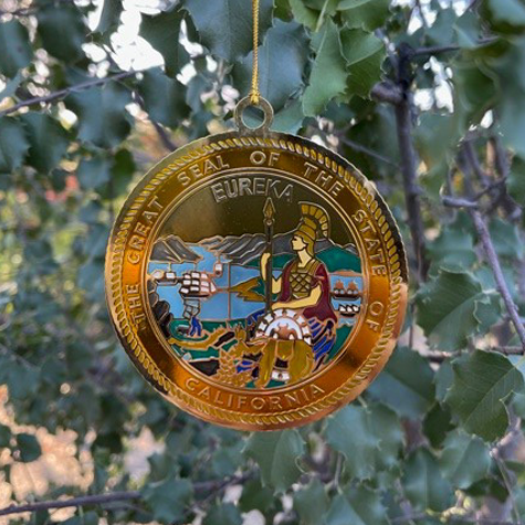 Etched Metal California State Seal Ornament